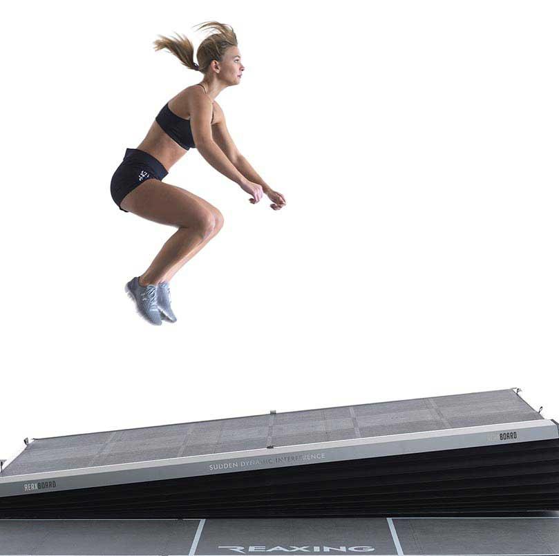 athlete jumps training on reax board floor