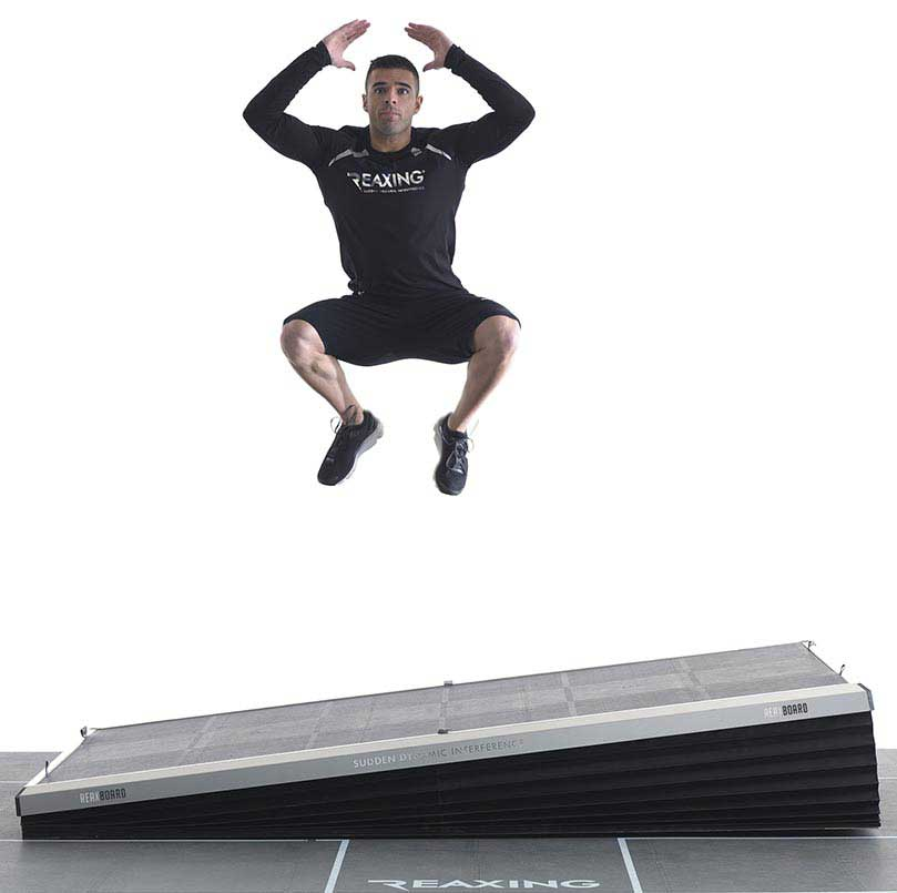 athlete jump training on reaxing reax board