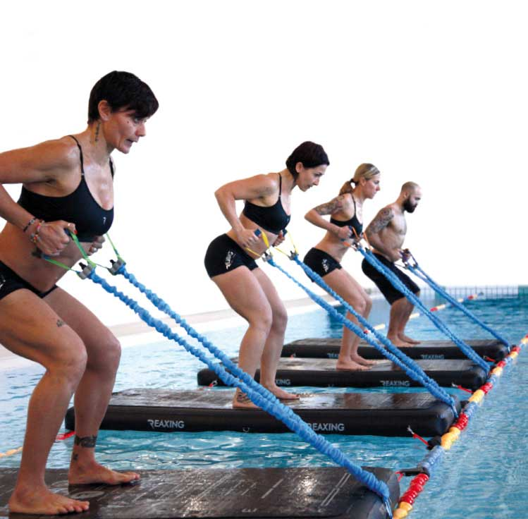 Athletes Activity on Reax Raft in the swimming pool