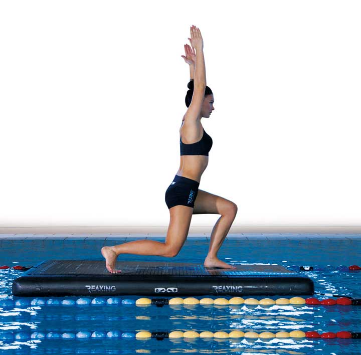 Athletes Yoga Activity on Reax Raft in the swimming pool
